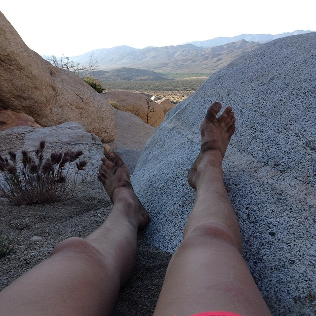 dirty hiking feet resting in anza desert