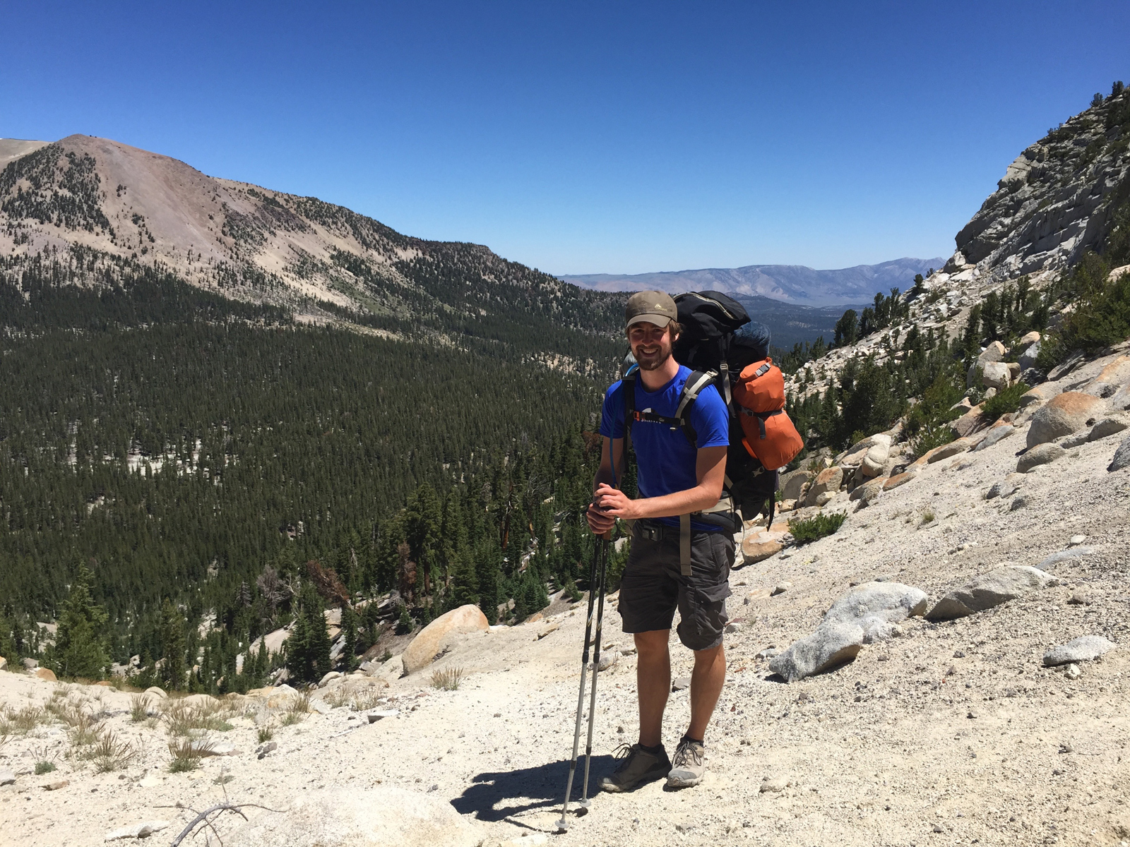 Carl from Belgium, south-bounding the trail from Tuolumne Meadows.