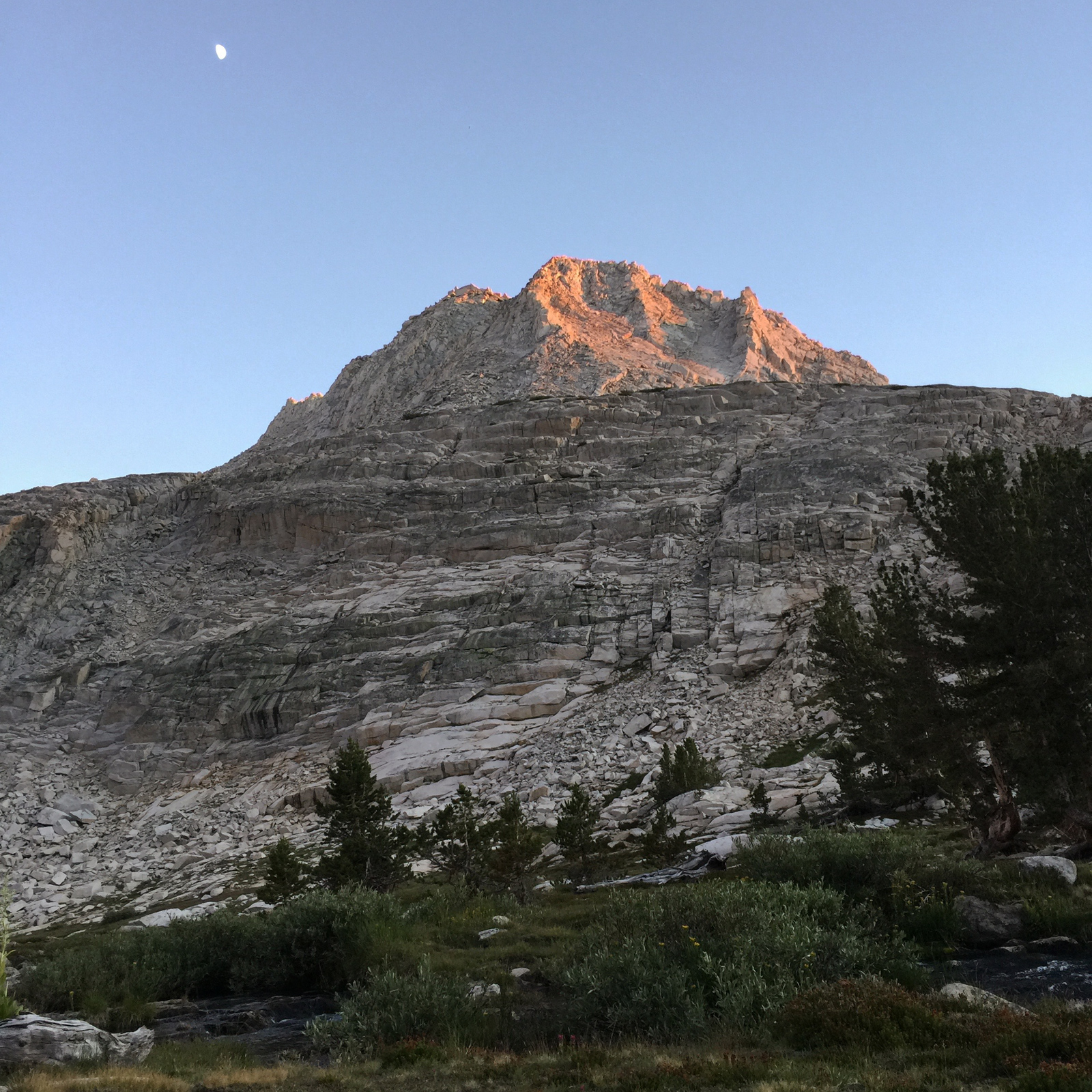 Sunset on an unnamed peak from my second cowboy camp on the Sierra High Route.