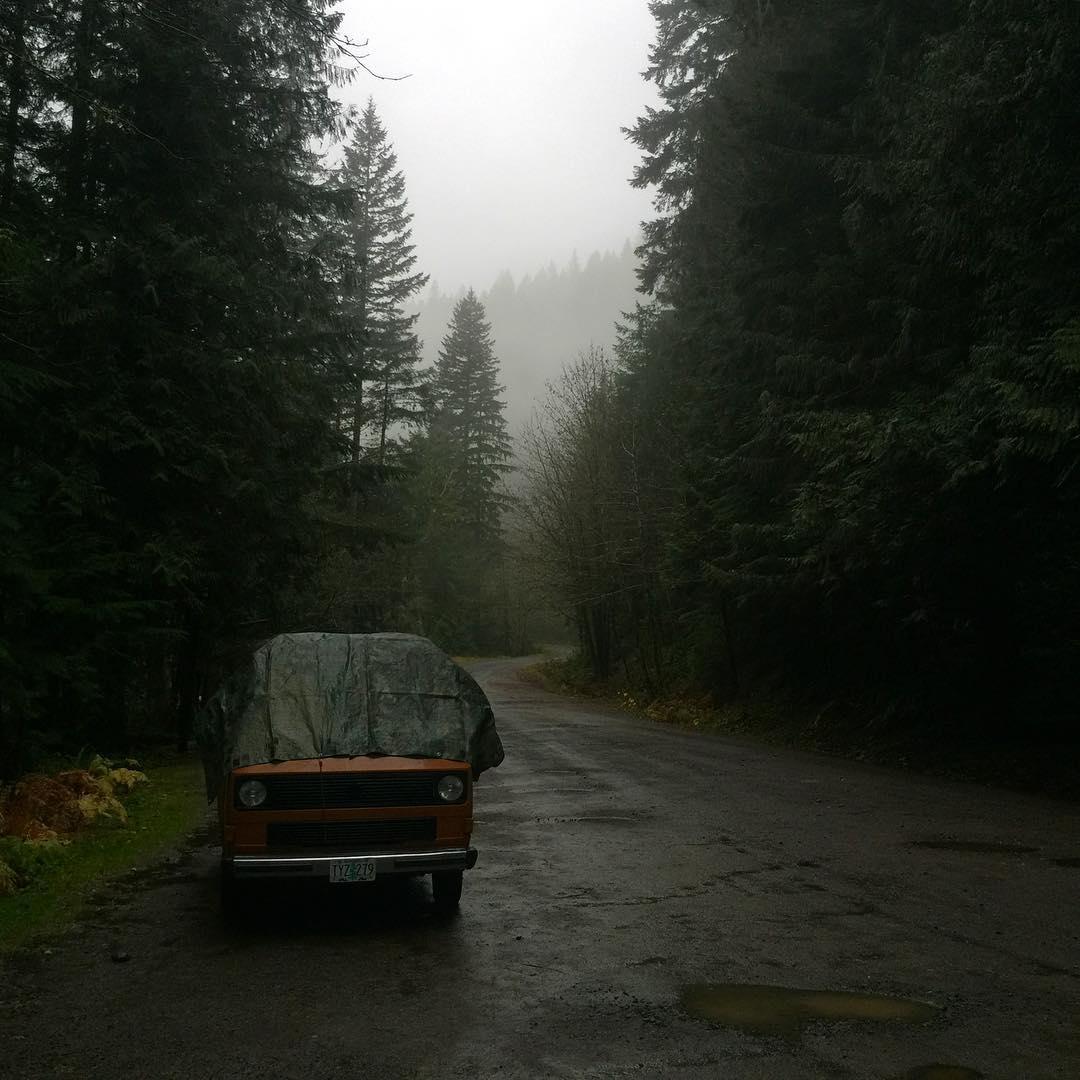 Vanagon in the woods, raining