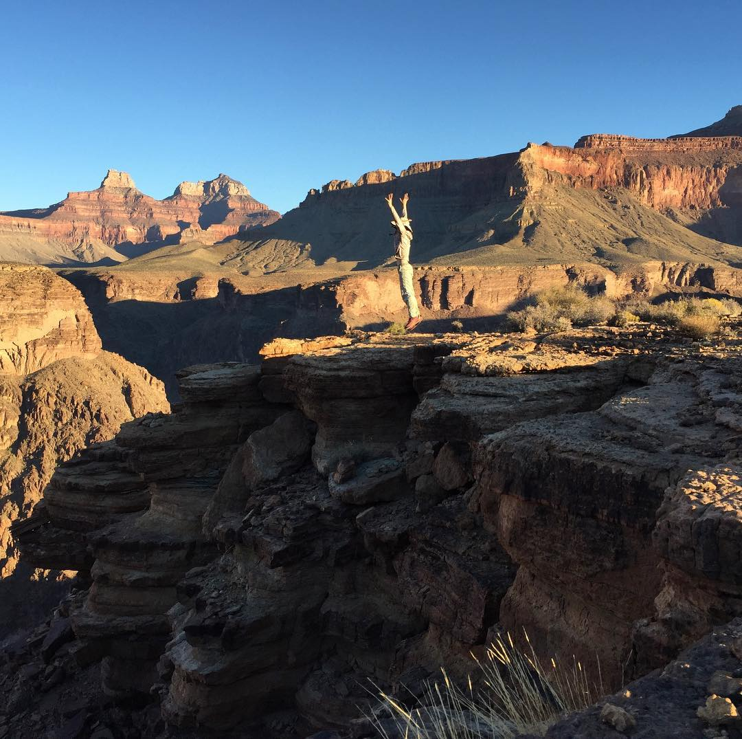 Jumping on edge of Grand Canyon