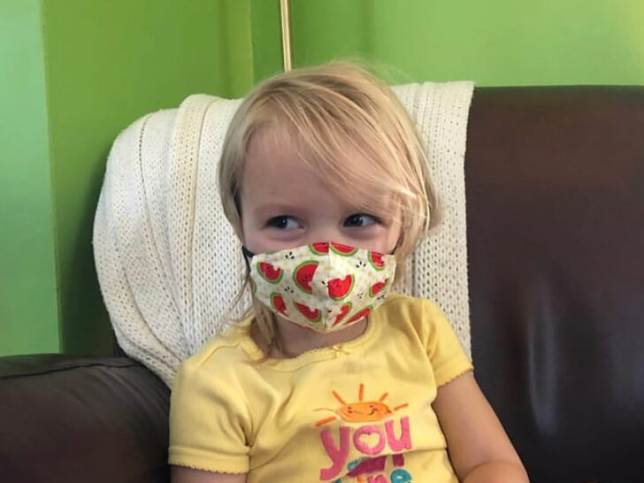 Tiny face mask on a two year old kid