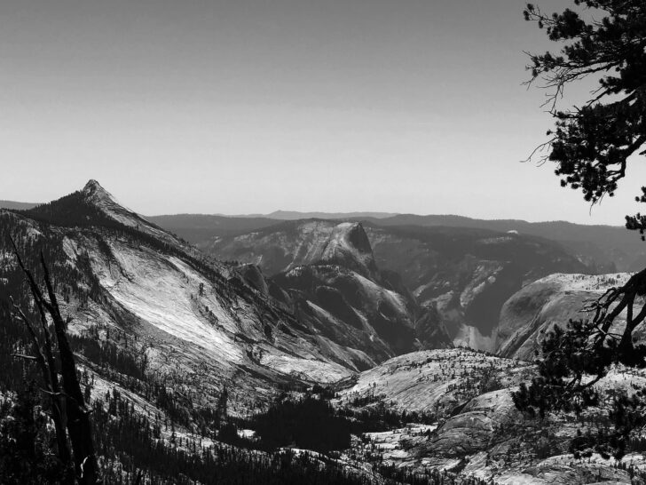 view of Half Dome from the East in Black and White