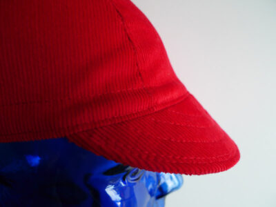Red corduroy cycling cap
