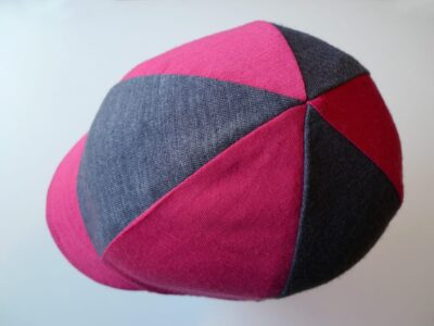Pink and grey stretch cycling cap