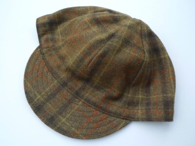 Upcycled (thrift store) wool plaid cycling cap