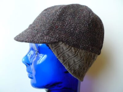 Upcycled wool tweed winter cycling cap with cable knit earflap