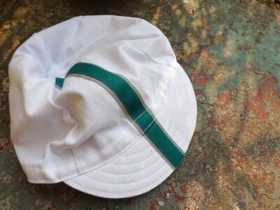 White Cycling Cap with Ribbon and Mesh Back
